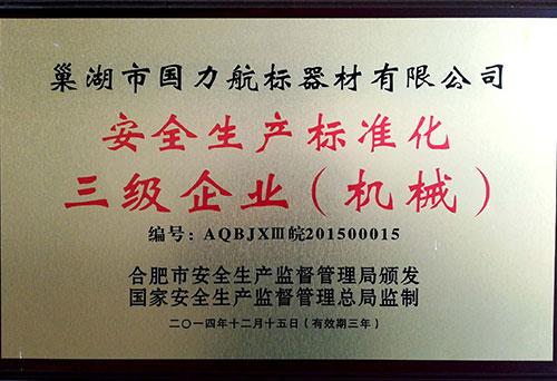 巢湖国力航标器材有限公司安全生产标准化三级企业
