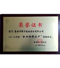 广东巢湖国力航标器材有限公司2013年纳税大户