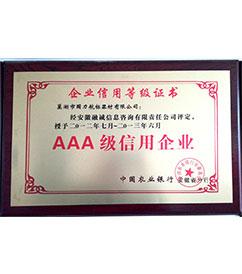广东巢湖国力航标器材有限公司企业信用等级证书