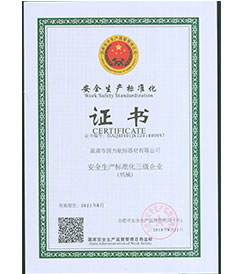 河北巢湖国力航标器材有限公司安全生产标准化证书